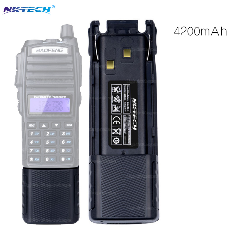 bilder für Walkie talkie für baofeng pofung uv-82 uv82 uv-82l uv82l nktech 7,4 v 4200 mah verlängerte batterie schinken zweiwegradio