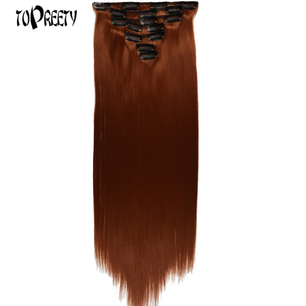 TOPREETY Heat Resistant B5 Synthetic Straight 7pcs/set Clip In Hair Extensions 7006
