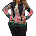 2017 Casual Xxl Plus Size T-shirt Women Clothing Geometrical Printed Long Sleeve  Black Shirt Top Ladies Poleras De Mujer