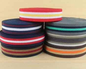 Wholesales 50 yard  2.5cm Thick Stripe Elastic Polyester Webbing Tape Bag Straps Belt Waistband Webbing Upholstery furniture