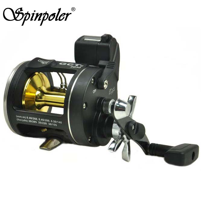 Spinpoler Cheap Fishing Reel Metal Drum Boat Fishing Wheel Trolling Sea Saltwater Reels Drag Power 8kg