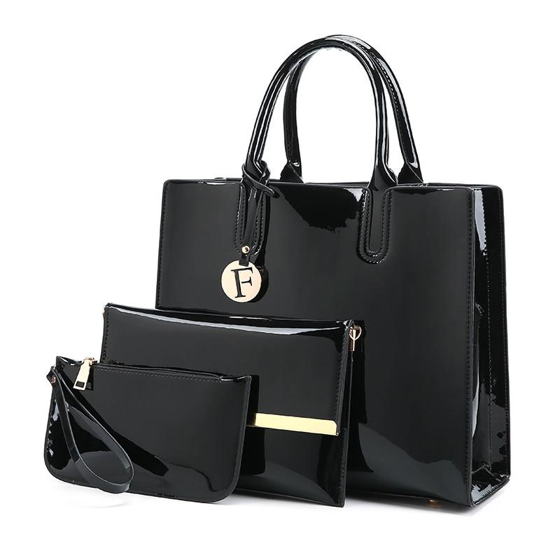 2017 New Autumn Winter Patent Leather Handbags Women Shoulder Bag Fashion Casual Tote 3 Pieces 1 Set