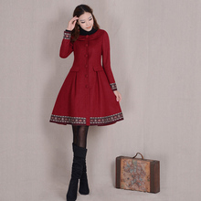 New Arrival Fashion Women's Winter Coat Red/Blue Single Breasted Elegant Vintage Female Overcoat Long Sleeve Slim Wool Jackets