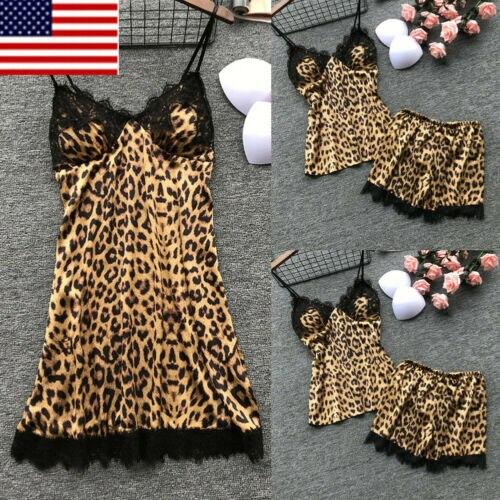 2 stücke Set Frauen Sommer Sexy Satin Hosenträger Spitze Leibchen Top Shorts Baby puppe Leopard Print Nacht Kleid Schlaf Kleid