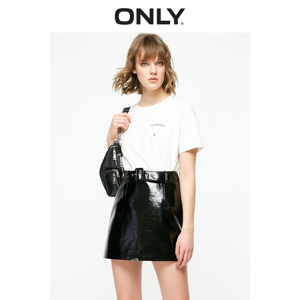 ONLY 2019 Spring Summer New Women's Loose Fit BF Style Letter Print Short-sleeved T-shirt |119101618