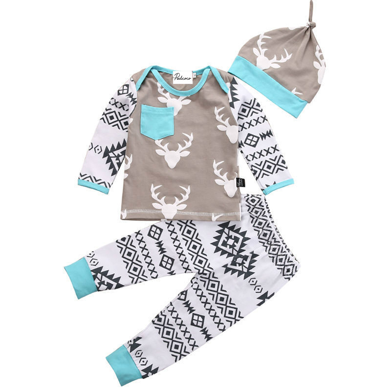 Christmas Baby Sets Spring Autumn Winter Toddler Baby Girl Boy Clothes Deer Tops T-shirt Pants 3pcs Outfits New Born Baby's Sets 2016 new fashion casual boy girl baby clothes lion tops t shirt pants 2pcs outfits clothing set spring summer 2 3t 4t 5t 6t 7t