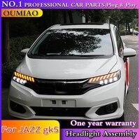 cars Headlight For Honda 2018 FIT JAZZ GK5 Headlights ALL LED Headlight Daytime Running Light DRL Bi LED LENS