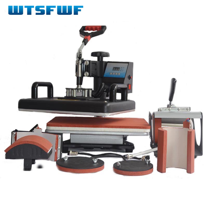 Wtsfwf 30*38CM 6 in 1 Combo Heat Press Printer 2D Sublimation Transfer Printer for Cap Mug T-shirts Plates Printing wtsfwf 30 38cm 5 in 1 combo heat press printer machine 2d sublimation vacuum heat press printer for t shirts cap mug plates