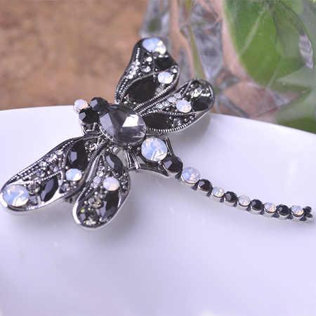 Blucome yeşil yusufçuk broş korsaj takı Shining kristal Vintage broş kristal büyük broş eşarp elbise başörtüsü pimleri Up