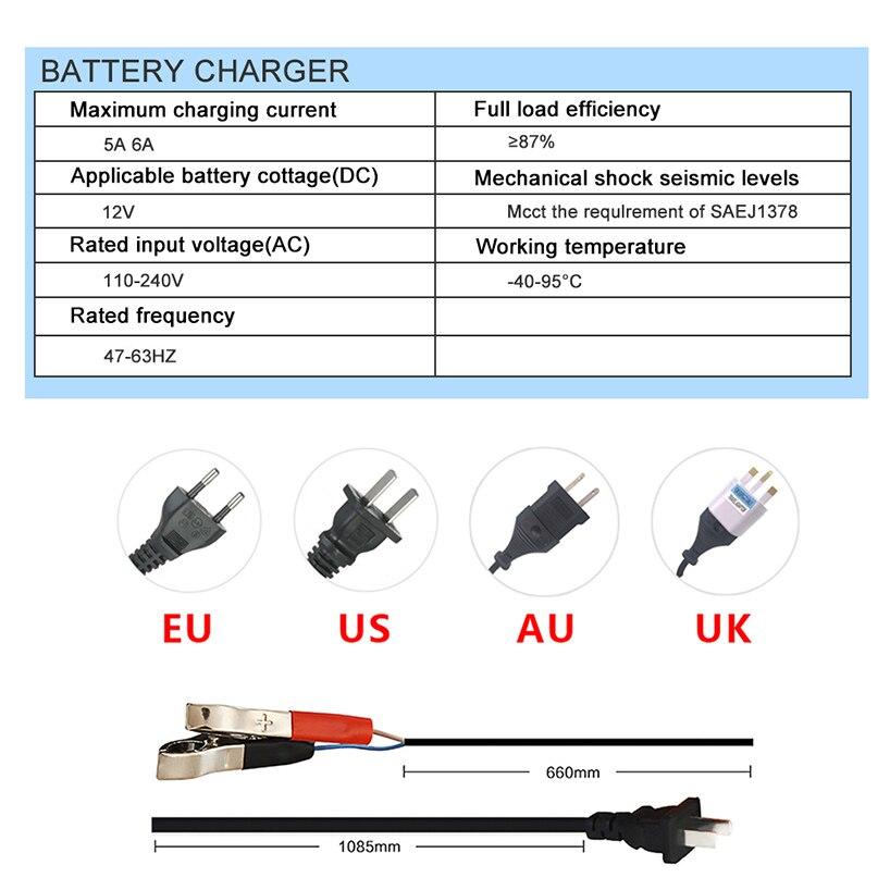 12v 6a Smart Fast Car Battery Charger 12 V Volt Lead Acid Gel Agm