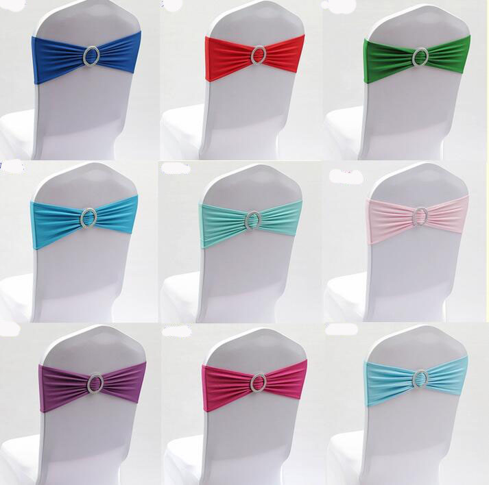 100PC Lycra Chair Band Stretch Elastic Spandex Chair Bow with Round Ring for Wedding Banquet Party Decoration Event Chair Sashes