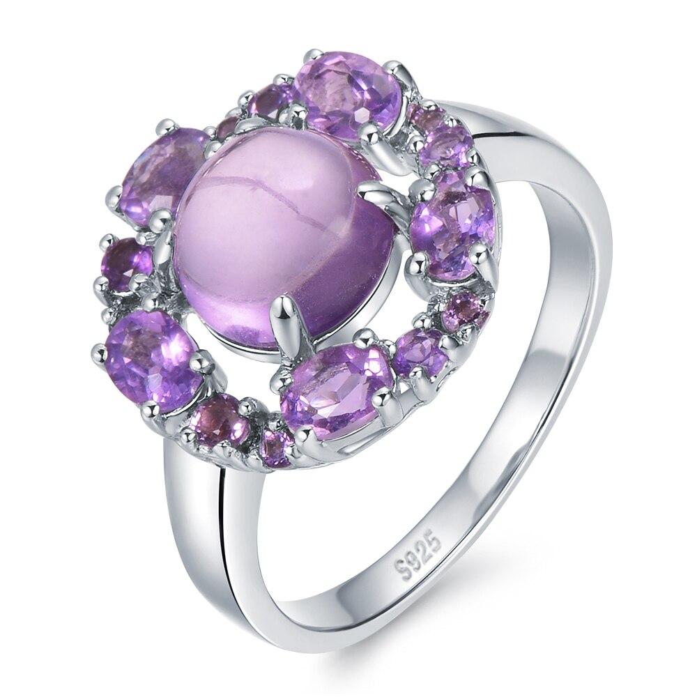 Purple Wonder Luxury 4ct Genuine Natural Amethyst Sterling Silver Lotus Ring