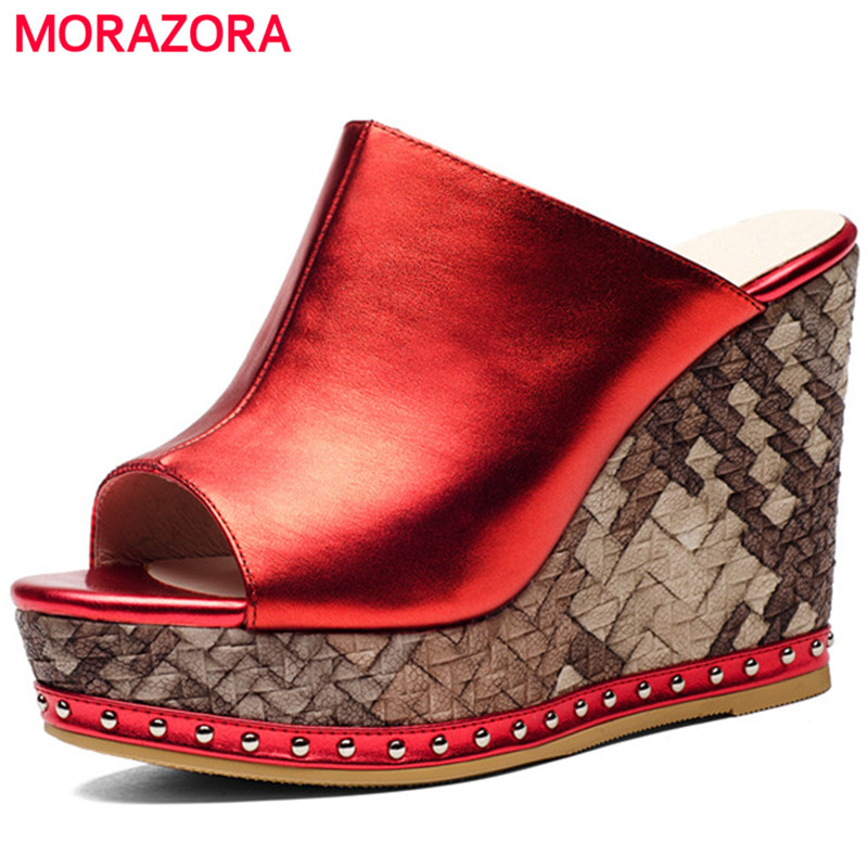 MORAZORA Top quality platform shoes fashion summer women shoes sandals genuine leather spuer heels wedges shoes hot sale monster high мотор побег с острова черепов 2 в 1
