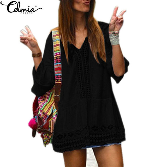 Celmia 2017 Boho Womens Summer Dress Ladies Sexy Lace Crochet Flare Sleeve V Neck Hollow Out Casual Beach Mini Dresses Vestido