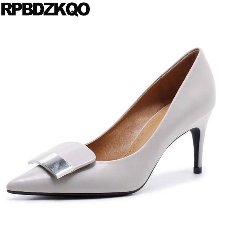 2018 Top Quality Size 33 Stiletto Black Italian Beige Metal Ladies Formal Shoes 3 Inch Pumps Luxury 4 34 High Heels Pointed Toe купить дешево онлайн