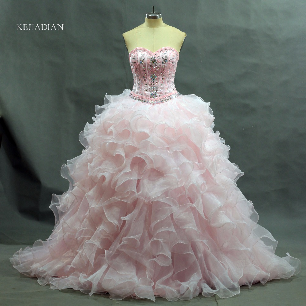 Real photo Quinceanera Gown 2018 Hot Light Pink ...