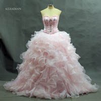 Quinceanera Gown 2016 Hot Light Pink Quinceanera Dress Ball Gown Sweetheart Detachable Ruffled Train 10 Year