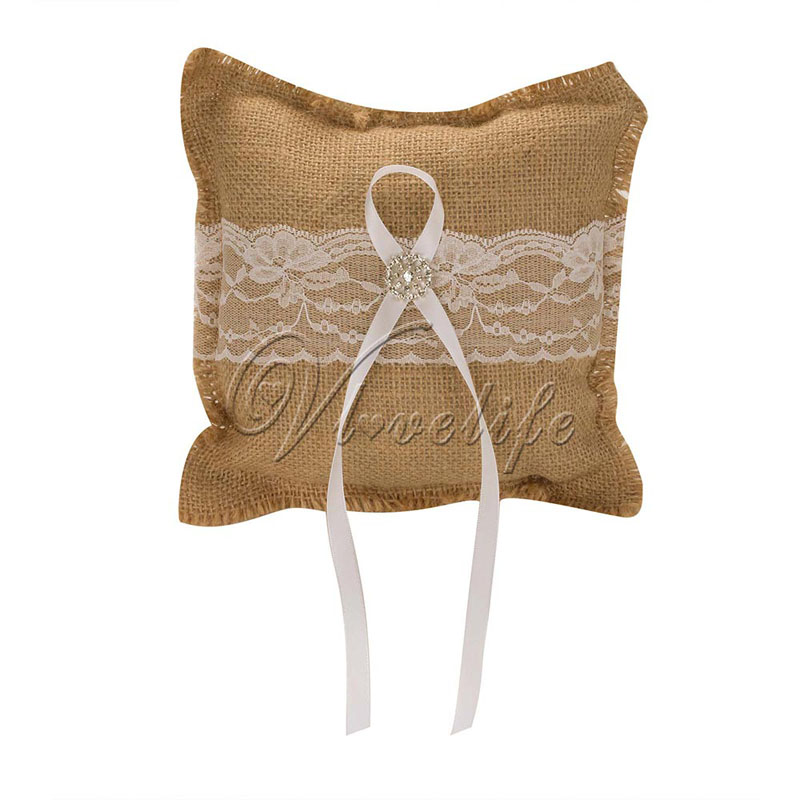 Burlap Wedding Ring Pillow with Lace Satin Ribbons Bow