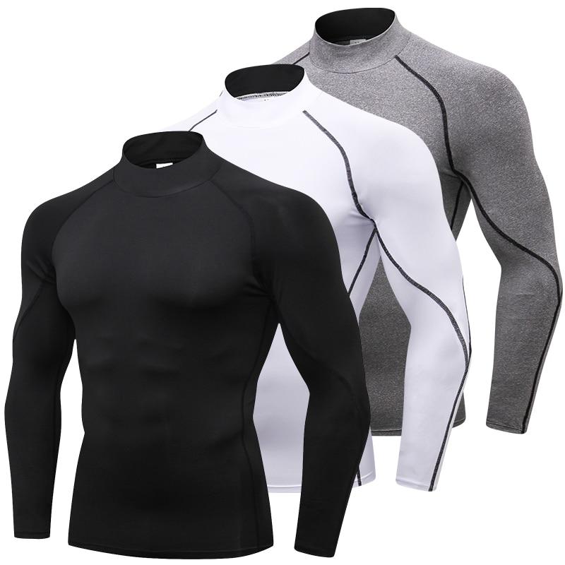 2019 New Men's Long Sleeve Compression Running T Shirt Men Rashgard Quick Dry Gym Fitness Running Sports Tights Men's Sportswear