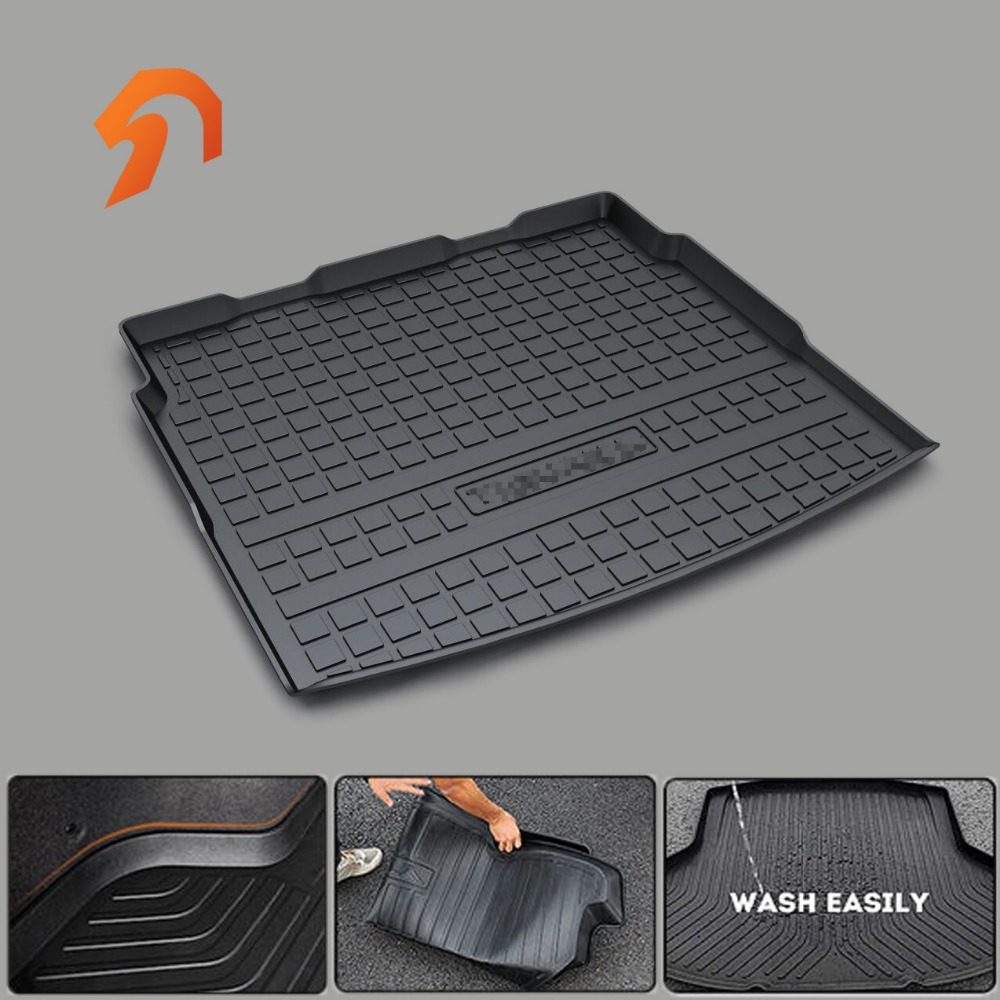 Rubber MATS Fit for Volkswagen VW TIGUAN L MAGOTAN CC TOURAN L BORA GOLF67 Sportsvan BOOT LINER REAR TRUNK CARGO MAT TRAY CARPET custom fit car trunk mats for nissan x trail fuga cefiro patrol y60 y61 p61 2008 2017 boot liner rear trunk cargo tray mats