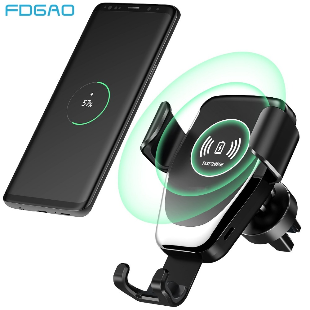 FDGAO 10W QI Wireless Charger Fast Charging Car Mount Phone Holder Stand Quick For iPhone X XR