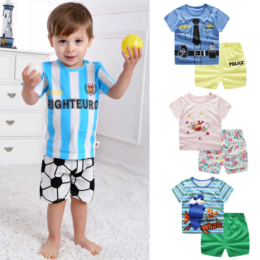 7067c964 Brand Cotton Baby Sets Leisure Sports Boy T-shirt + Shorts Sets Toddler Clothing  Baby
