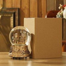 Ретро золотой и серебряный замок Кристалл заводная Музыкальная шкатулка движение романтический рождественский подарок украшение дома