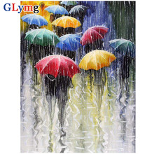 GLymg 5d Diamond Painting Full Square Drill Oil Umbrella In The Rain Diamond Embroidery Mosaic Kit Picture European Home Decor(China)