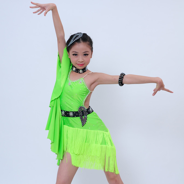 47ffe8595 New girl professional Green/Black/Rose Tassel diamonds perspective splicing  dress for kids Latin/rumba/samba/salsa Dance dresses