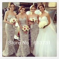 2014 New Arrival Mermaid Gray Lace Bridesmaid Dresses Long Floor Length Brides Maid Dress 610