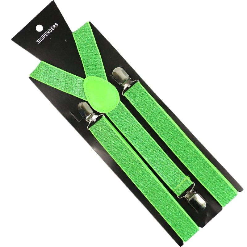 HUOBAO Fashion 2.5cm Wide  Solid Color Flicker Clip-on Braces Elastic Y-back  Suspenders For Men Womens 3 Clip Suspenders