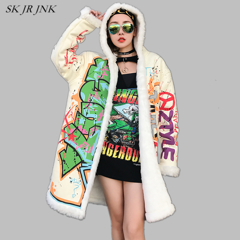 Women Thick Warm Fluffy Cotton Hooded Padded Jacket 2017 New Female Winter Fashion Doodle Letter Print Loose Plus Size Coat LW80 2017 winter women jacket coat hooded thick warm women parkas plus size fashion brand fluffy women cotton padded jacket l 3xl