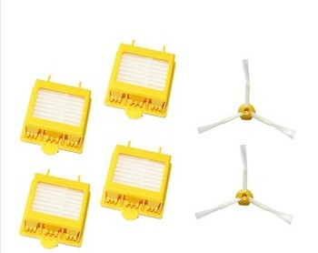 4 HEPA Filters + 2 Side Brushes kit for iRobot Roomba 700 Series 760 770 780 790 Replacement Vacuum Cleaner Accessories
