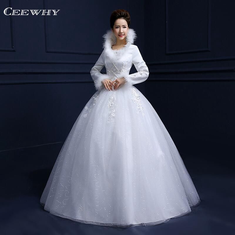 full sleeves feathers embroidery satin luxury winter wedding dress 2017 floor length ball gown bridal gowns