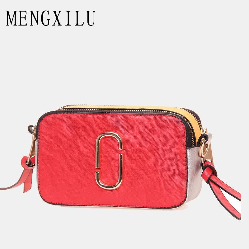 MENGXILU Crossbody Bags For Women Luxury Handbags Women Bags Designer Wide Strap Patchwork Messenger Bag Ladies Hit Color Sac