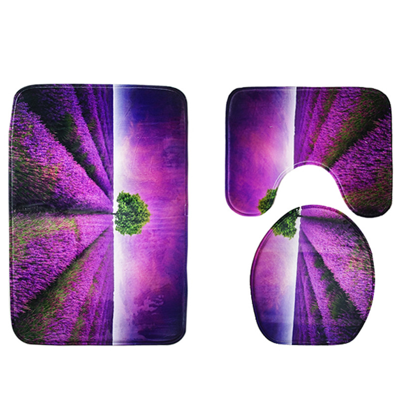 3pcs Bathroom Rug Sets Lavender Flannel Printing Non Slip Toilet Mat Set and Bath Mat Sets
