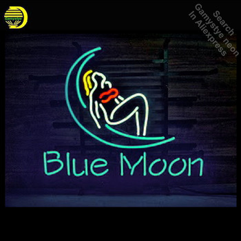 Blue Moon Bar girl Neon Sign neon Light Sign galss tubes Commercial Recreation Warehouse Rooms Light Iconic Neon signs for sale