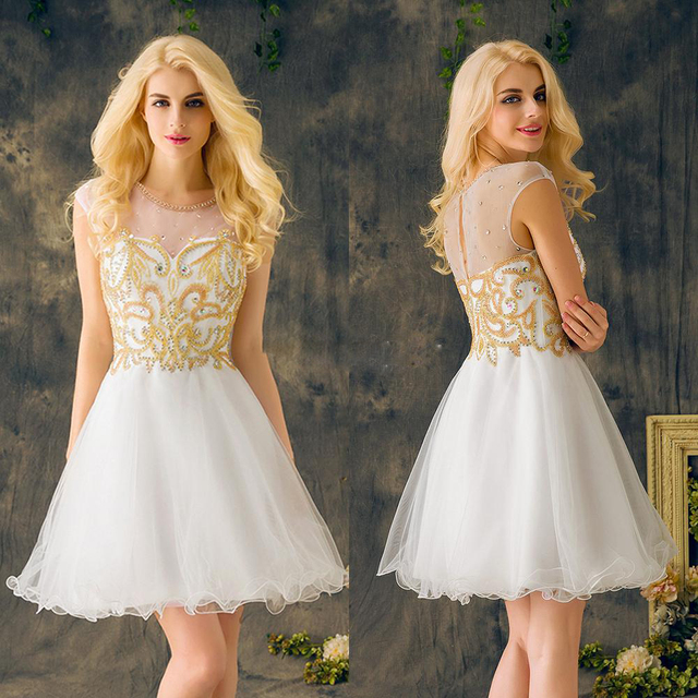 Short Prom Dresses 2017 Gold Beading Sequined Crystal White Organza ...