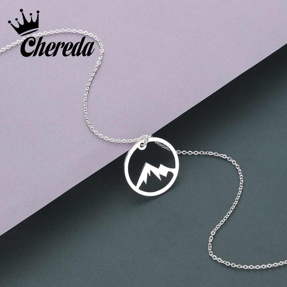 Chereda Round Hollow Mountain Stainless Steel Dainy Delicate Chain Necklace for Women Men Simple Pendant Jewelry