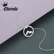 Chereda Round Hollow Mountain Stainless Steel Dainy Delicate Chain Necklace for Women Men Simple Pendant Jewelry цены