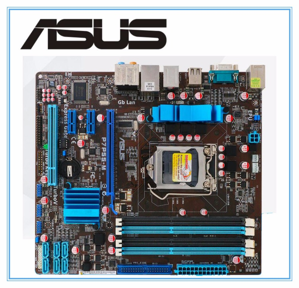 D'origine carte mère ASUS P7P55-M LGA 1156 DDR3 pour I5 I7 CPU USB2.0 16 GB P55 De Bureau carte mère Livraison gratuite