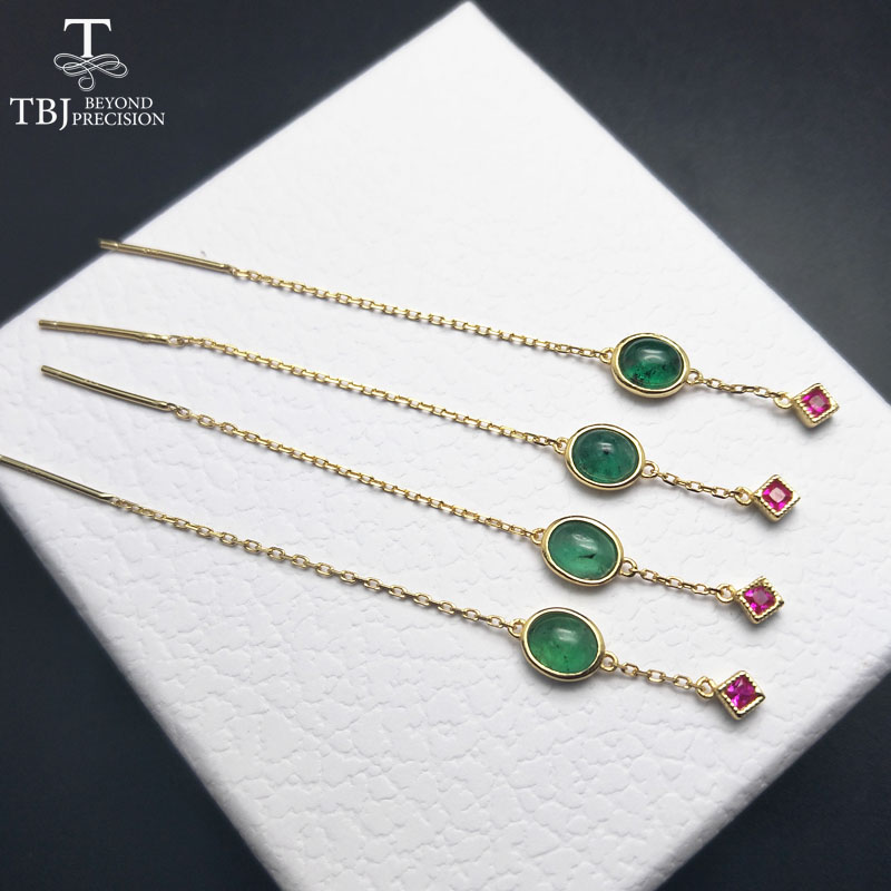 TBJ, 100% natural emerald gemstone earring fashion and elegant design in 925 sterling silver yellow color for lady with gift boxTBJ, 100% natural emerald gemstone earring fashion and elegant design in 925 sterling silver yellow color for lady with gift box