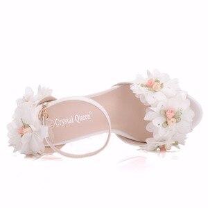 Image 3 - Crystal Queen chaussures de mariée, talons hauts, escarpins papillon, avec fleurs en dentelle, poignets, soirées, été