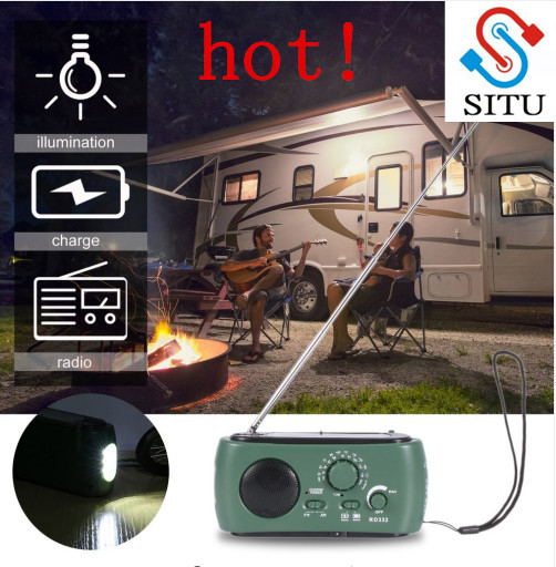 Multifunctional AM/FM Radio Dynamo Solar Battery Powered Radio With 3-LED Emergency Flashlight with Earphone Jack Free Shipping
