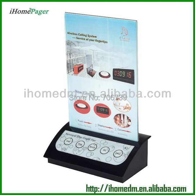 mad in china HCM405 black convenient wireless restaurant service calling system with menu holder, 1500M coverage