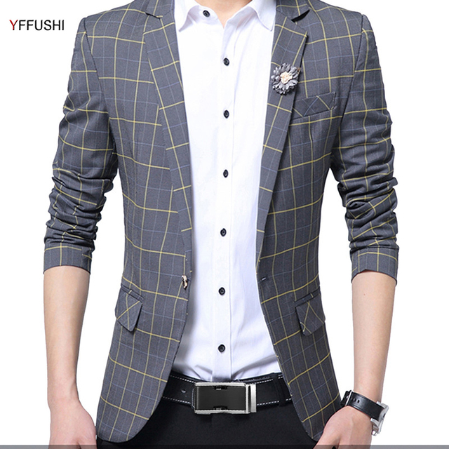 2f9f56b4534f YFFUSHI New Arrival Men Suit Jacket Grey Plaid Jacket Best Men's Blazer  Masculino Business Casual Style Classic Design Fashion