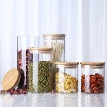 Прозрачная кухонная бутылка для хранения из боросиликатного стекла с деревянной крышкой, банка для хранения продуктов, конфет, печенья, закусок