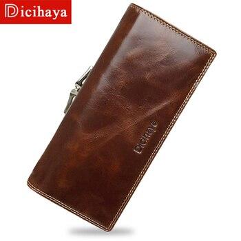 a89c2cf49 DICIHAYA mujeres aceite cera genuino cuero carteras de cuero de piel de  vaca de la marca de lujo carteras monedero de la tarjeta titular del  teléfono grande ...
