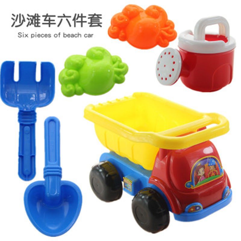 6Pcs /Set Children Outdoor Beach Toys Set Sand Truck Sand Shovel Rake Children Playing With Sand Toys Suit Gift Dropshipping