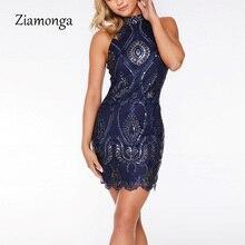 Ziamonga женское летнее платье, повседневные сексуальные винтажные платья, элегантное кружевное вечернее платье с вышивкой, облегающее платье-карандаш с блестками